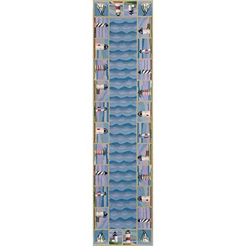 Bella Coastal Decor Colonial Blue Lighthouse Waves Rug - 2 x 8