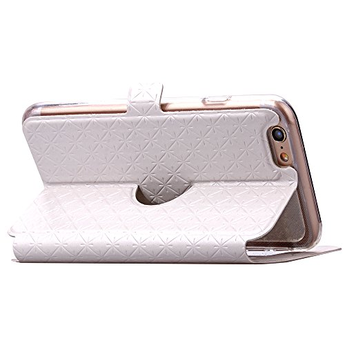"MOONCASE iPhone 6S Hülle, UltraSlim Pu Leder Klappetui Schutzhülle für iPhone 6 6S 4.7"" Bookstyle Handyhülle Case Standfunktion mit View Window Weiß"