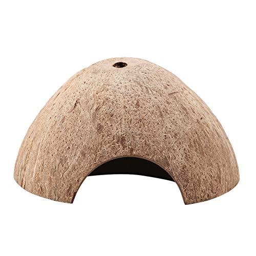 Fdit Casa de Reptiles Cueva Escondida Coco Natural Tortuga Acuario Tortuga Decoración Casa Cáscara de Coco