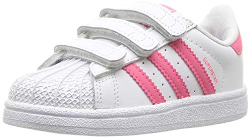 adidas Originals Baby Superstar Running Shoe, White Real Pink, 10K Medium US Little Kid
