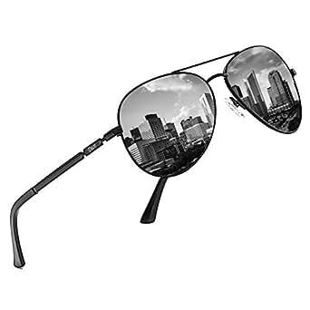 DUCO Designer Polarized Sunglasses Vintage Round Sunglasses With Case 100% UV400 Protection 3025K (Black Frame Grey Lens, Black)