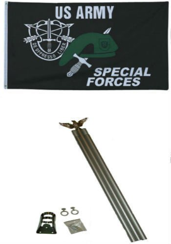 3x5 U.S. Army Special Forces Flag w 6 Ft Aluminum Flagpole Flag Pole kit BEST Garden Outdor Decor polyester material FLAG PREMIUM Vivid Color and UV Fade Resistant (Flag Special Us Forces Army)