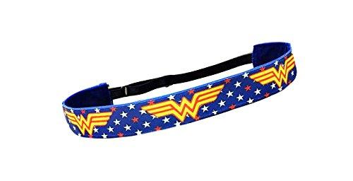RAVEbandz Exclusive Fashion Headbands (WONDER WOMAN Superheros) Adjustable, Non-Slip Sports & Fitness Hair Bands for Women and Girls (Wonder Woman Running Outfit)