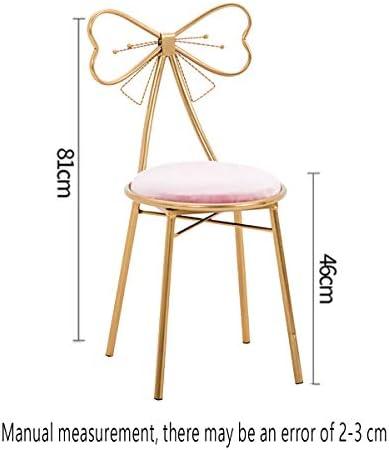 Chair Chaises Nordic Chaise De Style Moderne Bowknot Métal Dressing Tabouret Chaise Chambre Vanity Dressing Pink-81CM