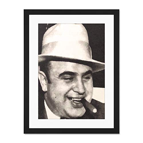 Doppelganger33 LTD Painting Portrait Gangster Al Capone Cigar Crime Large Art Print Poster Wall Decor 18x24 inch Supplied Ready to Hang with Included Mount Brackets