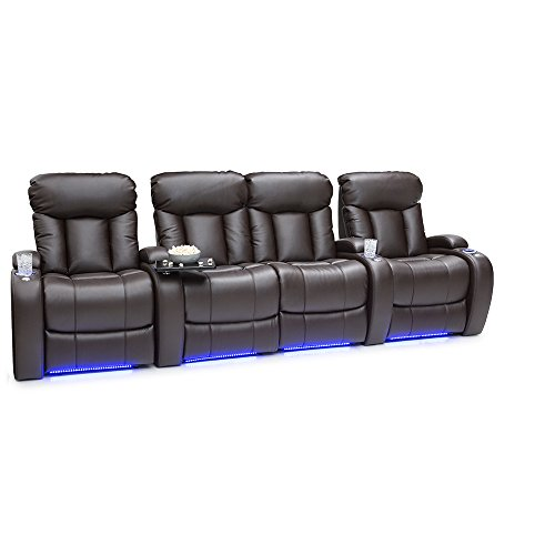 Seatcraft 2177M Orleans Home Theater Seating, Row of 4 with Loveseat, Brown by SEATCRAFT