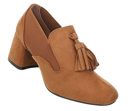 Schuhcity24 Damen Schuhe Stiefeletten Pumps mit DEKO Camel
