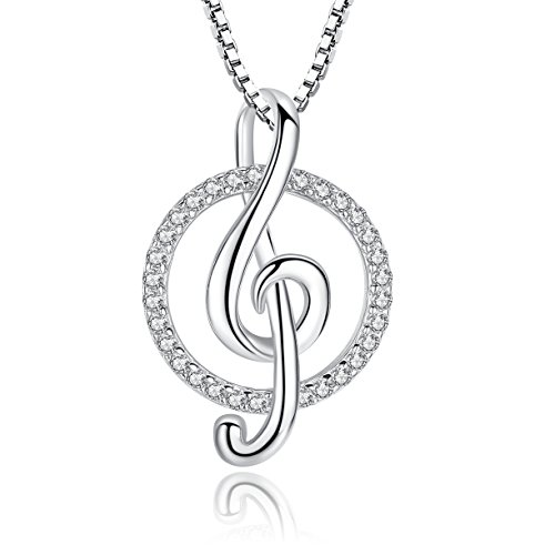 Greendin Sterling Silver Musical Note Necklace Pendant CZ Jewelry Women Girls, 18'' (cicle) by Greendin