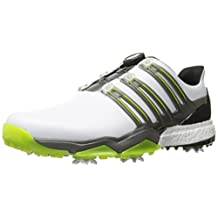 adidas Golf Men's Powerband Boa Boost WD Golf-Shoes, Ftwr White/Iron Met./Solar Slime, 15 Wide US