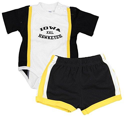 Iowa Hawkeyes NCAA Baby Boys Infant Creeper and Shorts Set, White - Black-Gold