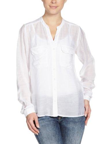 Vila - Camisa con cuello de pico de manga larga para mujer Blanco
