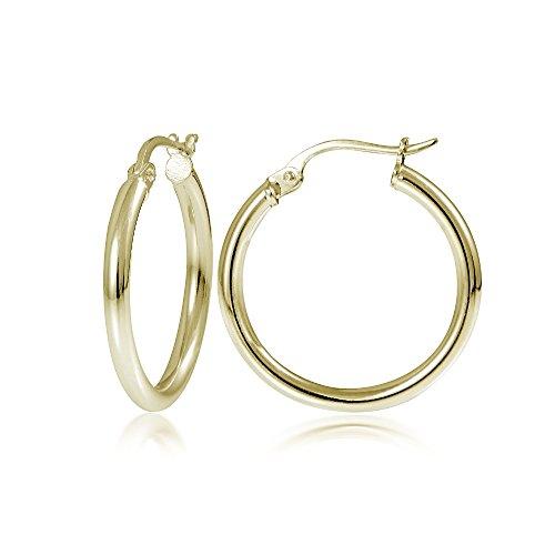 Hoops & Loops Flash Plated Gold Sterling Silver 2mm High Polished Round Hoop Earrings, (Sterling Silver High Polished Earrings)