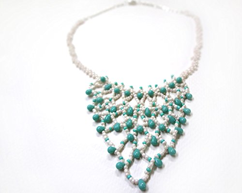 Cascading Blue and Cream Beaded Lace Necklace