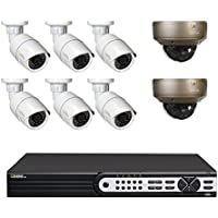 Q-See Surveillance System QT8616-8AF-4 16-Channel HD IP NVR with 4TB Hard Drive, 6-4MP Security Cameras, 2-4MP Varifocal Security Cameras (White)