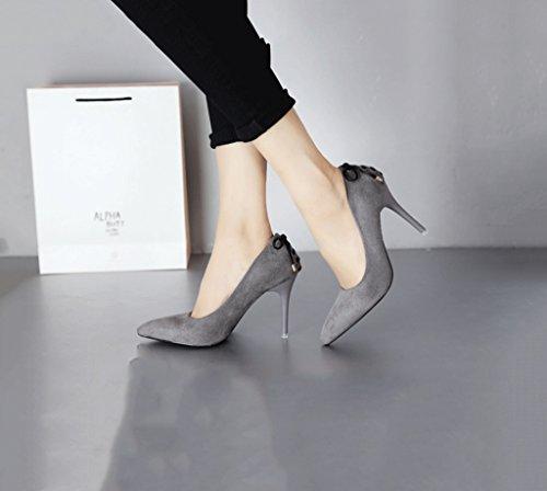 Lavoro Pelle Alti A Scarpe Da Tacchi 35 Dimensione Superficiale Comodi Sandali Sexy Grigio In Scamosciata colore Bocca Femminile Moda Punta ct7pWpB