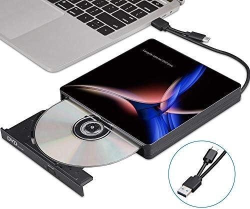 DVDドライブ USB-C外付け光学式ドライブのUSB 3.0タイプC CD/DVDプレーヤーDVDバーナー用PCのラップトップデスクトップWindows CDドライブ (Color : Black, Size : One size)