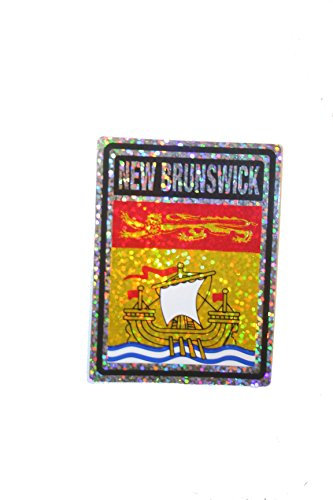 NEW BRUNSWICK - Canada' Provincial Flag .. SQUARE Metallic Bumper Sticker Decal .. Size : 4