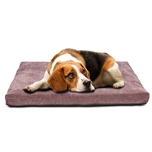 INVENHO Dog Bed Comfortable Soft Crate Pad Anti-Slip Washable Removable Cover Dog Crate Pad for Large Medium Dogs & Cats(Brown,42-Inch)