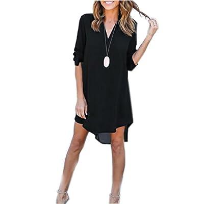 YXTech Women Long Sleeve Casual Mini Shirt Dress Loose Chiffon Ladies Short Shirt Dress