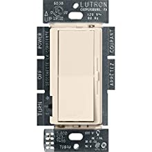 Lutron Diva C.L Dimmer for Dimmable LED, Halogen and Incandescent Bulbs, Single-Pole or 3-Way, DVCL-153P-LA, Light Almond