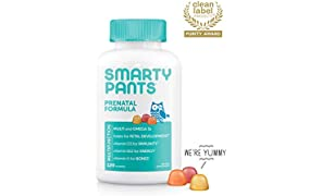 SmartyPants Prenatal Daily Gummy Multivitamin: Biotin, Vitamin C, D3, E, B12, A, Omega 3 (DHA/EPA) Fish Oil, Gluten Free, Zinc, Selenium, Methyl Folate, 120 Count (30 Day Supply) - Packaging May Vary