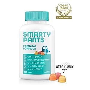 SmartyPants Prenatal Formula Daily Gummy Multivitamin: Vitamin C, D3, & Zinc for Immunity, Gluten Free, Folate, Omega 3 Fish Oil (DHA/EPA), 120 Count (30 Day Supply)