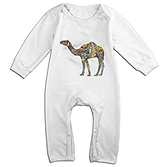 100 % Cotton Long Sleeve Funny Cool Colorful Retro Floral Camel Baby Bodysuits