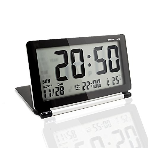 KLAREN Multifunction Silent LCD Digital Large Screen Travel Desk Electronic Alarm Clock, Date/Time/Calendar/Temperature Display, Snooze, Folding Black & Silver
