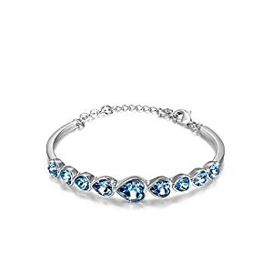 Cara Swarovski Elements Crystal Heart Shape Bracelet Jewelry Bangle for Valentine's Day Girlfriend Bracelet