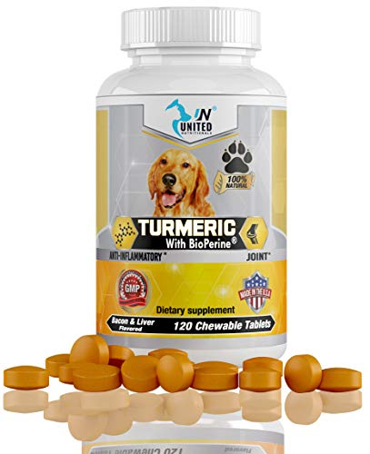 United Nutritionals - Turmeric with BioPerine for Dogs, Anti Inflammatory, Antioxidant, Pet Mobility, Pain Relief, Prevents Joint Pain - 60/120 Chew-able Tablets. (60)