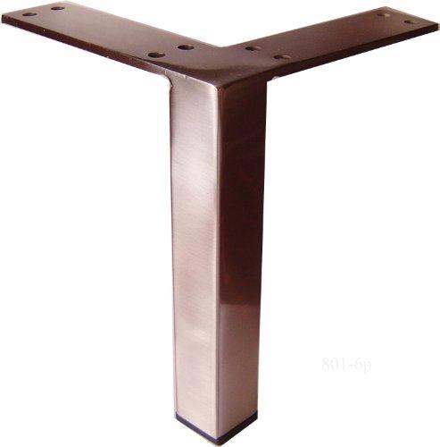 Alpha Furnishings Brushed Satin Square Metal Leg (Square Metal Table Legs)