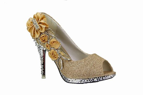 Floriation Shiny Gold Rosefloweropentoe WeenFashion Pumps Women's with Flowers AqHRp