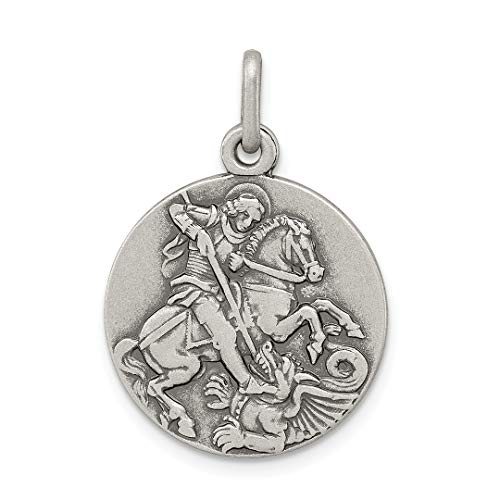 George Icon (925 Sterling Silver Saint George Medal Pendant Charm Necklace Religious Patron St Fine Jewelry Gifts For Women For Her)
