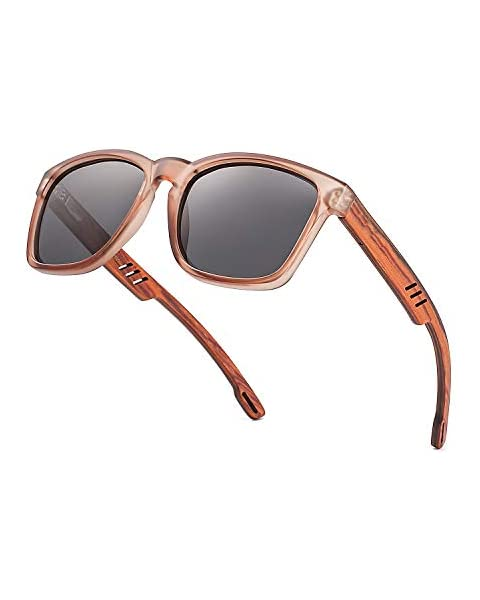 4df820f1456 Divvsck Zebra Wood Sunglasses with Polarized Lenses For Men Woman Wooden  Sunglasses UV400 for Traveling Driving