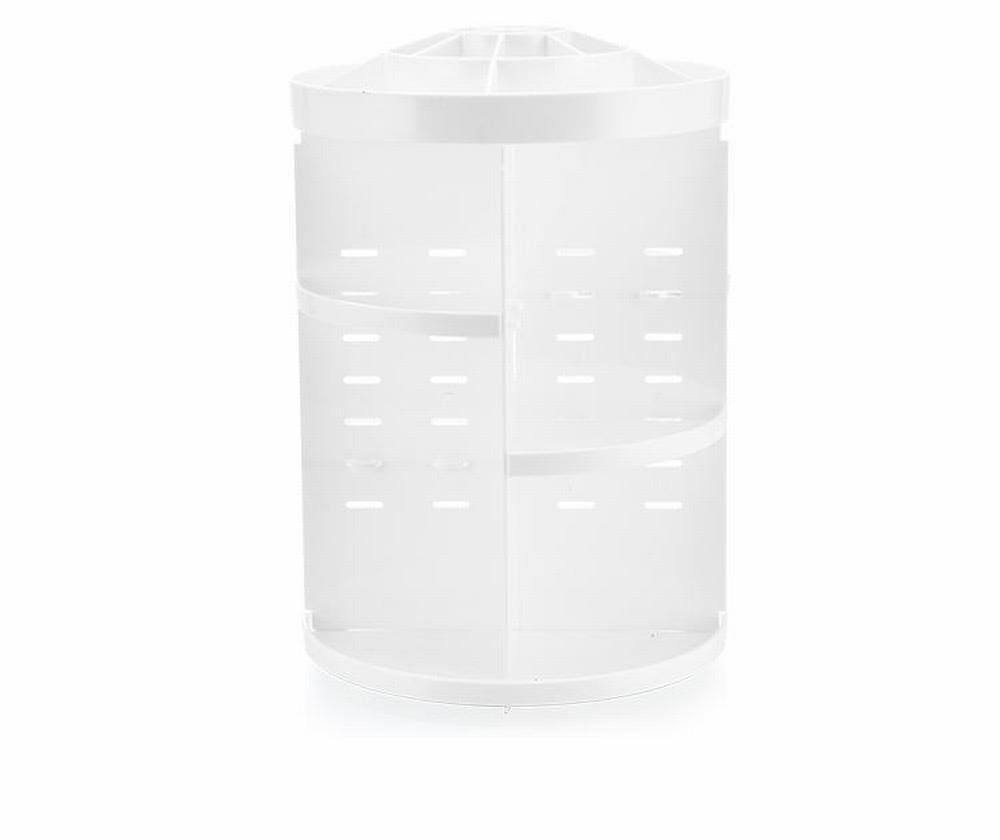 360 Degree Rotating Large Makeup Organizer Adjustable Round Desktop Cosmetics Storage Box Girls – White
