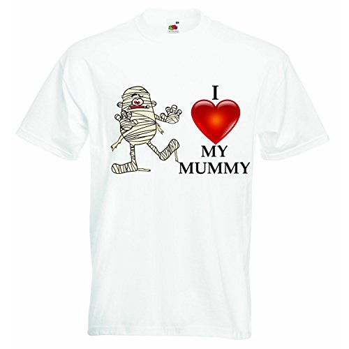 (I love my mummy halloween - Boys Girls T-shirt Personalized Tees Unisex Boys Girls Tshirt Clothing with Printed Funny Quotes - White - 4-5)