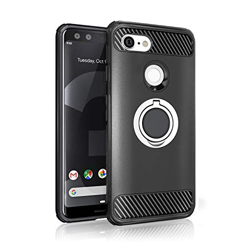 Google Pixel 3 Case - New 2018 Upgraded with Metal Stand Ring - Pixel 3 Heavy Duty Protective Phone Case - Google Pixel 3 Rugged TPU Cover - Google Pixel 3 Shockproof Defender Case - Google Pixel 3