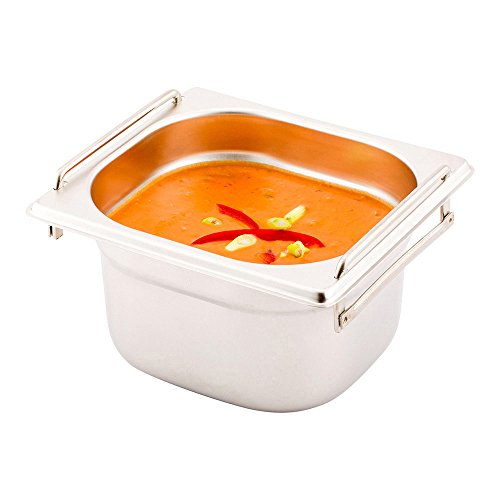 """One Sixth (1/6th) Steam Table Pan - 4"""" Deep - Collapsible Handles - Anti Jam - Commercial Grade Stainless Steel - 1ct Box - Met Lux - Restaurantware"""