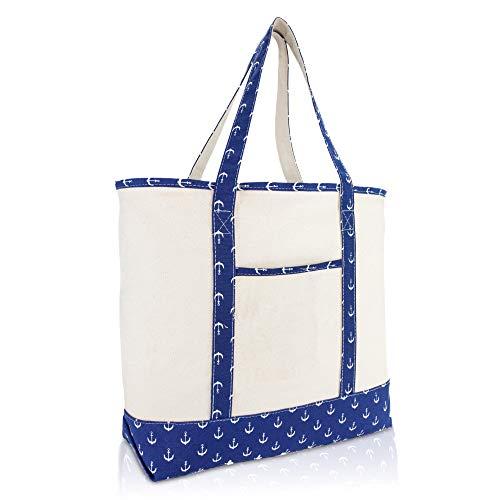 "DALIX 22"" Shopping Tote Bag Heavy Cotton Canvas  Navy Blue A"