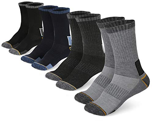 Pembrook All Season Crew Boot Socks - (4 Pack) - Breathable Work, Boot, Hiking, Athletic Socks - Reinforced Heel & Toe