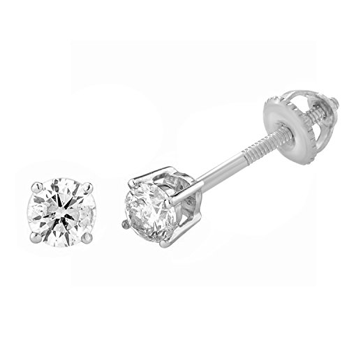 14k Gold Round-Cut Diamond 4-prong Stud Earrings (1/4 cttw, I-J Color, I2-I3 Clarity) (white-gold) by eSparkle