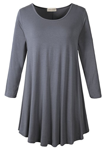 LARACE Women 3/4 Sleeve Tunic Top Loose Fit Flare T-Shirt(2X, Deep Gray)