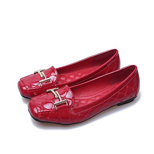 Meeshine Dames Gesp Slip Op Loafer Casual Lage Flats Vierkante Teen Schoenen Rood
