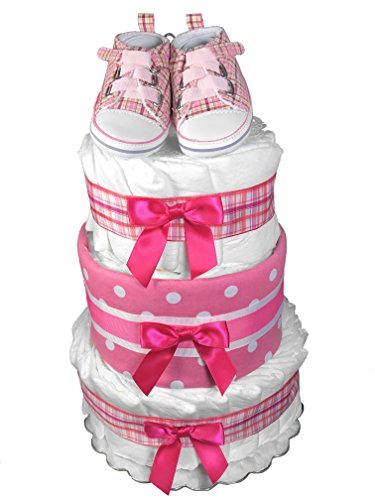 Pink Tennis Shoes Diaper Cake for a Girl - Baby Shower Centerpiece from Sunshine Gift Baskets