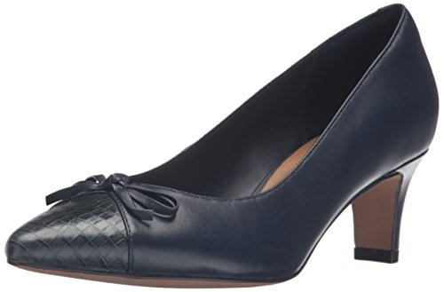 Clarks Women's Crewso Calica Dress Pump, Black Navy Leather
