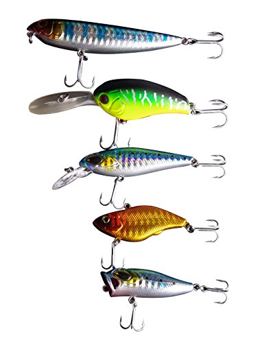 Freshwater Saltwater Fishing Lures Kit Hard Lures for Topwater Walleye Crank Bait Popping Swim Bait Bass Fishing Lure Assortment with VMC Hooks