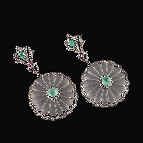 Natural 1.85 Ct. Emerald Ruby Carved Flower Crystal Pave Diamond Dangle Earrings 925 Sterling Silver Handmade Jewelry Xmas Gift For Her
