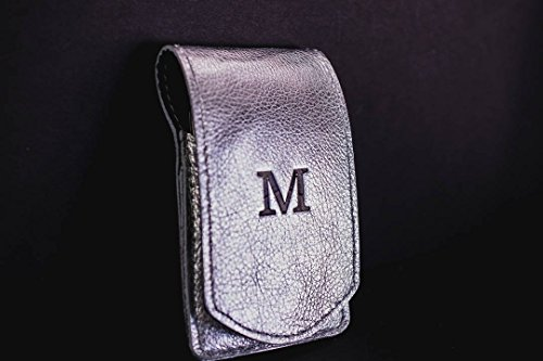 Personalized Womens Leather Manicure Set Monogram | Silver Manicure Case | Custom Bridesmaid Gift for Woman Girlfriend Wife Sister Mom Grad by Felix Street Leather