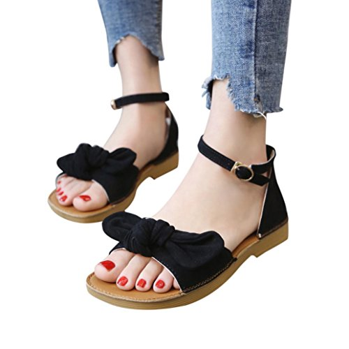 Enamel Ballerina Charm - Sandals for Women,kaifongfu Fashion Solid Color Suede Bow Buckle With Flat Sandals Hasp Flat Heel Square Toe Sandals (40➽US:9, Black)