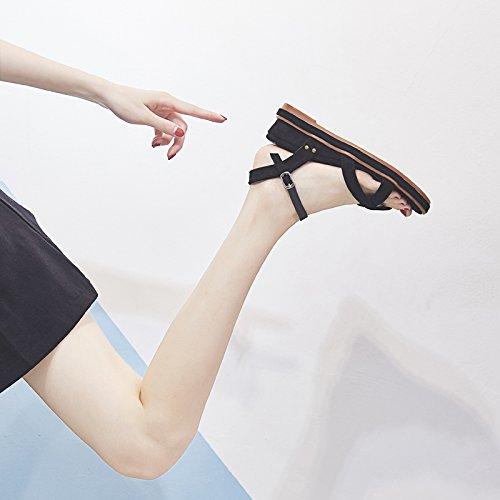 in 37 YMFIE zeppa antiscivolo B a moda scamosciata punta outdoor punta EU donna estiva con pelle sandali Sandali xZvwTx